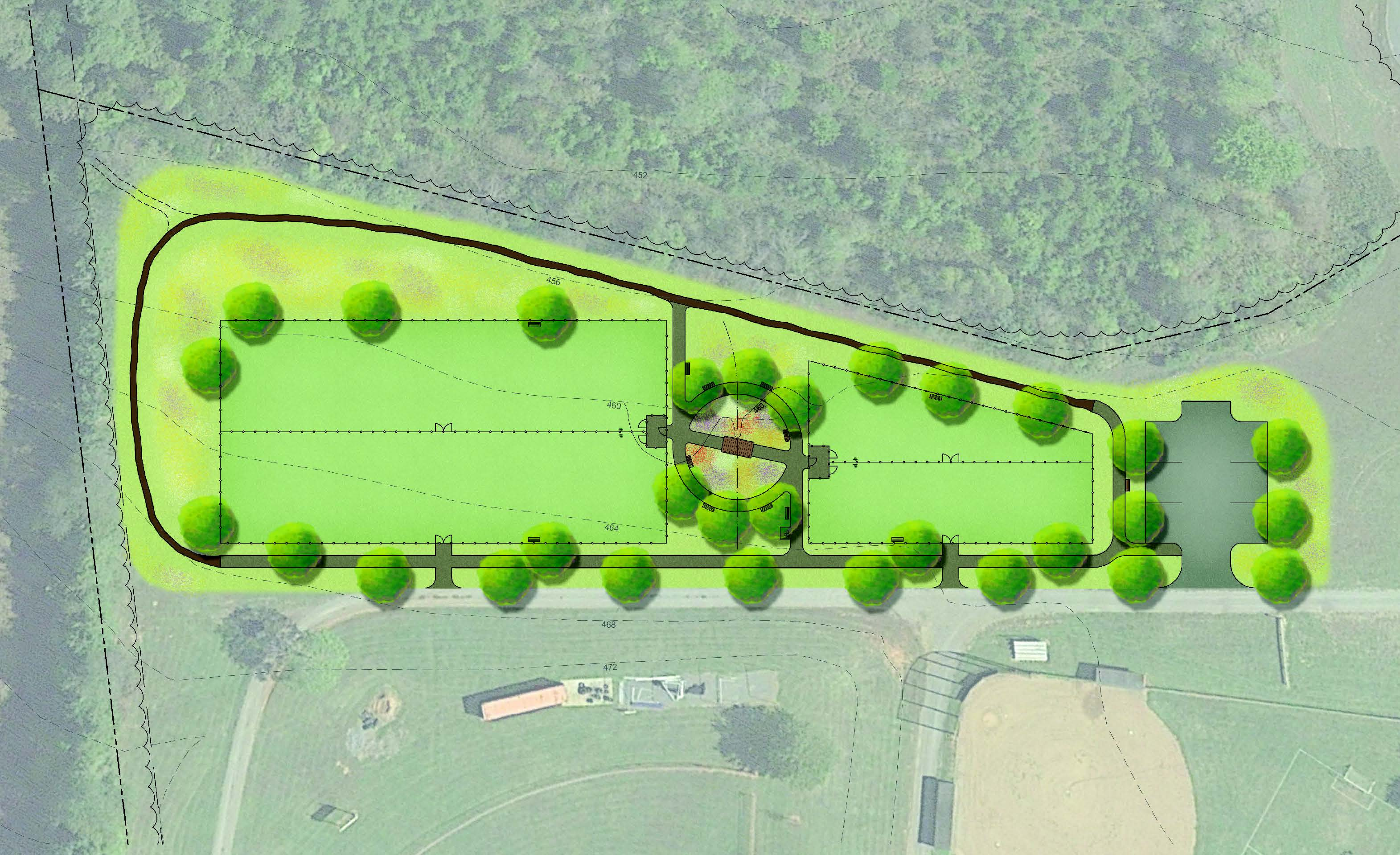 A concept plan of Skydog Orange Dog Park at Booster Park